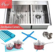 "Ariel 33"" Stainless Steel Double Bowl 60/40 Topmount Zero Radius Kitchen Sink"