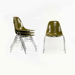 Eames Modernica Case Study Mustard Fiberglass Side Shell Chair w/ Stacking Base