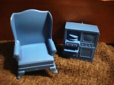 Vintage Marx Doll House Furniture Wingback Chair & TV Record Player Cabinet