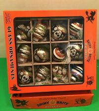 Christopher Radko Shiny Brite Halloween 12 Glass Ornaments Day of The Dead Skull