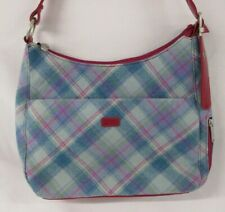 Ness, Blue Tartan Handbag, Shoulder bag, Deep Pink Detailing, Zip details