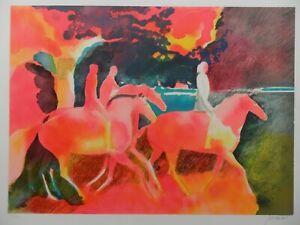 PAUL GUIRAMAND 1926-2008 BEAUTIFUL PENCIL SIGNED LTD ED LITHO 'LES CAVALIERS'