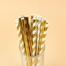 25Pcs Vintage Gold Stripe Paper Drinking Straws Wedding Birthday Party Accessory