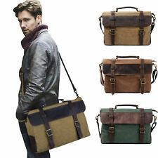 15.6 inch Men Vintage Canvas Messenger Briefcase Laptop Bag Large Laptop Satchel