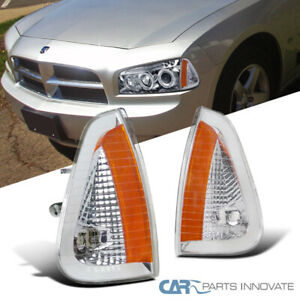 For 06-10 Dodge Charger Clear Lens Front Turn Signal Lamps Corner Lights Pair