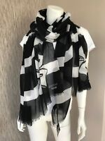 BOUTIQUE MOSCHINO LARGE BLACK & WHITE STRIPE BOW SCARF MADE IN ITALY BNWT