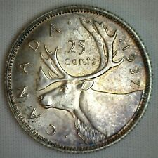 1937 Silver Canada 25 Cents Canadian Quarter Coin Toned UNC M2