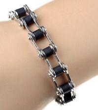 Mens Stainless Steel Bike Chain Silver Black 316L Bracelet Steampunk Biker Link