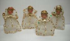 4 vintage 40's? 50's? angels tullie dress sequins Christmas ornament decor