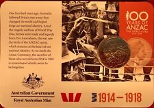 2015 anzacs remembered 20 Cent Australian Coin WW1 1914-1918