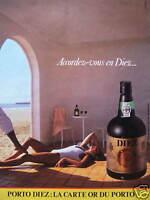 PUBLICITÉ 1985 PORTO DIEZ LA CARTE OR DU PORTO - ADVERTISING