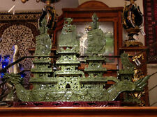 "FACTORY SALE: LARGE 48"" GREEN JADE DRAGON BOAT (BJ120)--rare & unique"