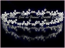 """Bijou femme diadème perle cristal clair """"PURETE""""  Mariée accessoire mariage Miss"""