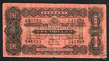 STRAITS SETTLEMENTS MALAYSIA 1 DOLLAR P1C 1915-1916 RARE CURRENCY SINGAPORE NOTE
