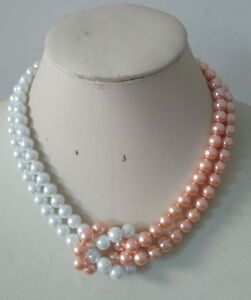 8mm Round White/Dark Pink 2 Rows South Sea Shell Pearl Necklace 18''