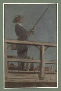 """1911 James Thorpe Print from The Compleat Angler """"Night Fishing for Trout"""""""