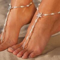 Pearl Barefoot Sandal Anklet Foot Chain Toe Ring Beach Bracelet Women Jewe+LDUK