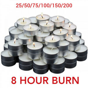 Tea Light Candle Unscented White 8 Hour Night Burn 25 50 75 100 150 200 Tealight