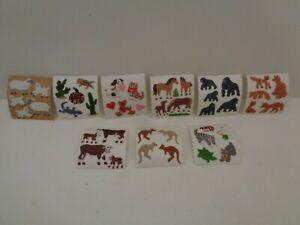 VINTAGE Sandylion Stoff Sticker Miniabrisse Fuzzy Tiere...  zur Auswahl  90er J.