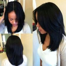 100% Real Hair!Fashion Medium Straight Middle Part Black Women's Hair Wig