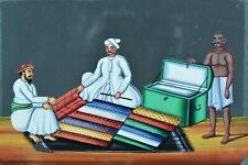 Rare tableau ancien India Company School Mica 19 thc Marchand d'étoffe  N°2