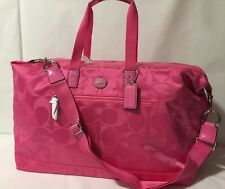 NWT Coach XL Duffle F77469 Pink Nylon Carry All Gym Packable Weekend Travel Bag