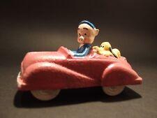 Antique Vintage Style Cast Iron Pink/Purple Pig Car