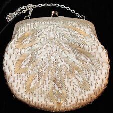 Vintage Silk Beaded Evening Bridal Formal Bag Handbag Purse Made in Hong Kong