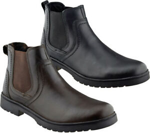 Mens Leather Chelsea Boots Smart Formal Casual Slip On Ankle Dealer Work Shoes