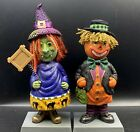 Happy Hauntings Halloween Bobbleheads Scary Smiling Pumpkin Witch Vintage Styly