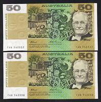 R-515L. (1993) 50 Dollars - Fraser/Evans. Last Prefix FAB.  aU-UNC - CONSEC Pair