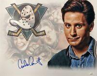 Emilio Estevez Autograph 16x20 Photo Mighty Ducks Signed JSA COA