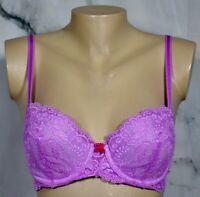 VICTORIA'S SECRET Fuchsia Pink Lace Dream Angels Lined Demi Underwire Bra 34C