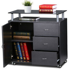 Rolling Storage File Cabinet 1 Door 3 Drawers w/ Tempered Glass Top & Casters US