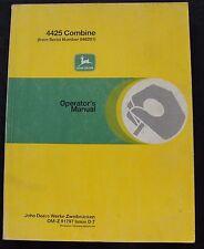 Original John Deere 4425 Combine Operators Manual Very Clean