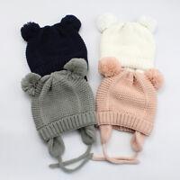 Toddler Kids Girl&Boy Baby Infant Winter Crochet Knit Earflap Beanie Hat Ski Cap
