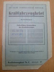 KFZ Brief Kraftfahrzeugbrief DDR PKW Wartburg 353 EZ 1969 Lim weiß Binz Rügen