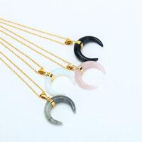 Bull Horn Crescent Obsidian Moon Rhinestone Pendant Men Women Gold Necklace