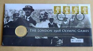LONDON 1908 OLYMPICS CENTENARY 2008 ROYAL MINT COVER + 2008 £2 OLYMPICS COIN UNC