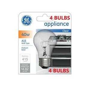 (4) GE 40 Watt Appliance Light Bulb Oven Refrigerator Lava Lamp Medium Base A15