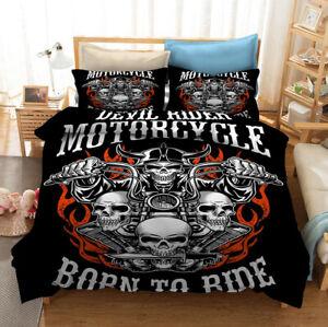 Davidson Bedding Set Harley Motor Quilt Duvet Doona Cover Pillowcase Teens Adult