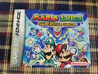 Mario & Luigi Superstar Saga - Authentic - Nintendo Game Boy Advance - Manual!