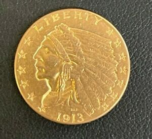 1913-P Indian Head $2.5 Quarter Eagle Gold Coin, Nice Looking Coin