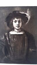 Rembrandt Heliogravure  France 1800,s 9x12  young women