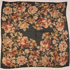 Ralph Lauren Silk Scarf Sheer Floral Print Vintage Green Ground Fall Autumn Tone