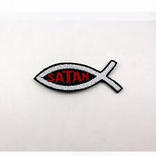 """Satan Ichthys - 100% Embroidered Patch Small 3"""" x 1""""  punk patch Satan Worship"""