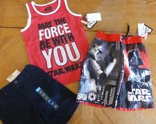 New Boy size 4/ 4t Star Wars Summer Clothes Lot Shorts Top Swim Trunks $51 Nwt