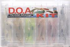 "18PC DOA 3"" SHRIMP LURE KIT IN COMPARTMENTED PLASTIC TACKLE BOX"