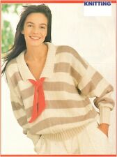 Ladies' DK Striped Sailor Sweater with Compass Motif Vintage Knitting Pattern