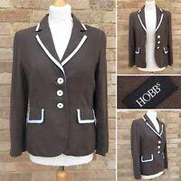 Hobbs Linen Jacket UK 12 Chocolate Brown Lined Smart Suit Blazer Work Office